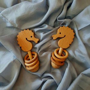 Birch and Bear Seahorse rattle baby